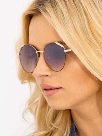Brązowe Damskie Okulary Słoneczne Z PERŁAMI Na Zausznikach