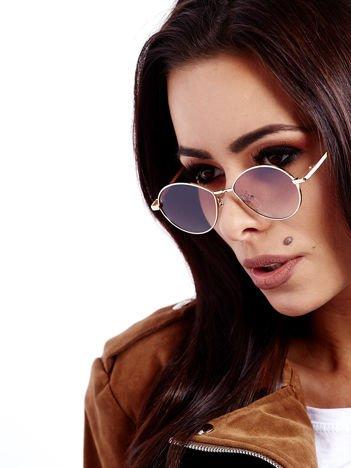 Brązowe Metalowe Owalne Okulary Unisex