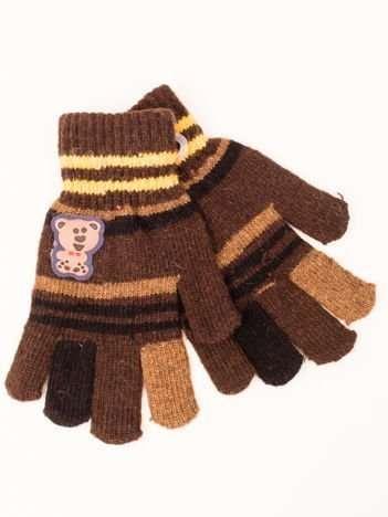 Brązowe WEŁNIANE Dziecięce Rękawiczki z MISIEM 16,5cm (5-9lat)