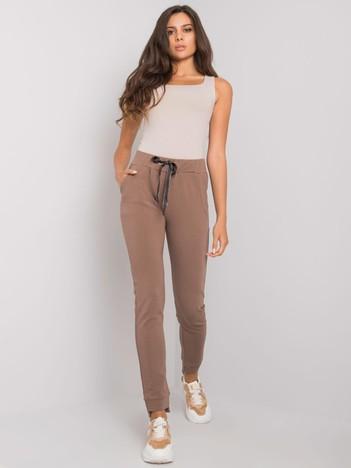 Brązowe spodnie dresowe z bawełny Davina