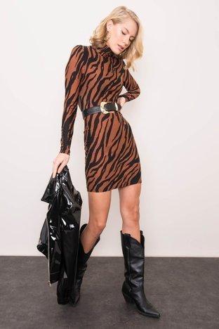 Brązowo-czarna sukienka we wzory BSL