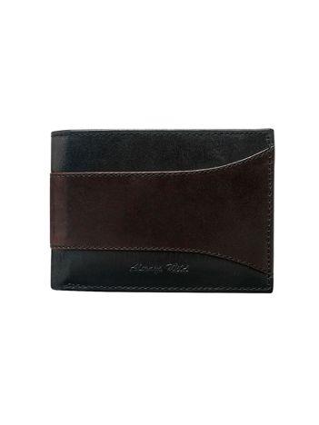Brązowo-czarny otwarty skórzany portfel męski