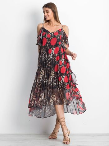 Brązowo-czerwona sukienka Lounging