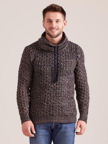Brązowo-granatowy sweter męski
