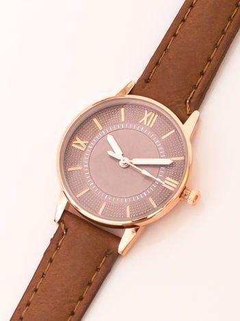Brązowy Elegancki Mały Zegarek Damski W Czerwonym Złocie