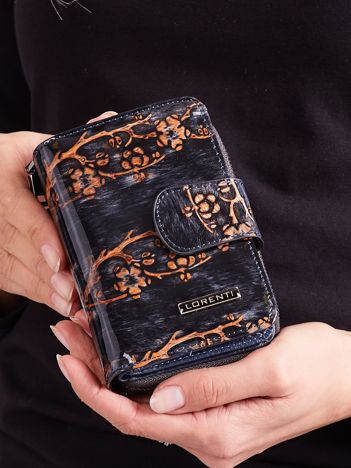 Brązowy kwiatowy portfel ze skóry naturalnej