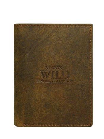 Brązowy pionowy portfel skórzany