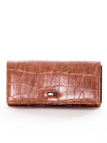 Brązowy portfel damski z motywem animal skin