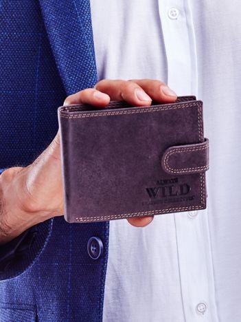 Brązowy portfel dla mężczyzny na zatrzask