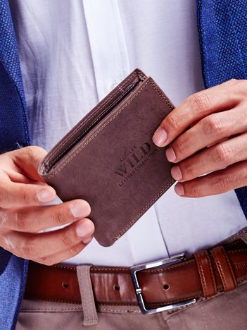 Brązowy portfel męski ze skóry naturalnej na zatrzask