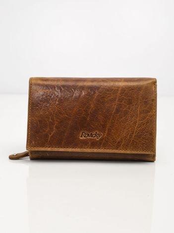 Brązowy portfel ze skóry naturalnej