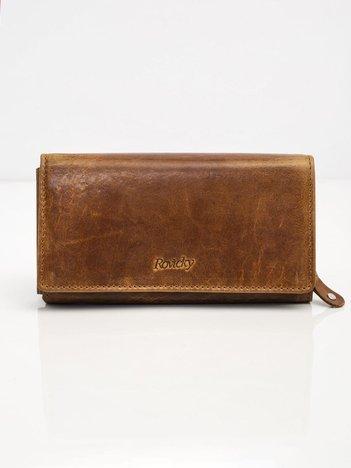 Brązowy skórzany portfel damski