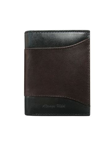 Brązowy skórzany portfel męski z czarnymi wstawkami