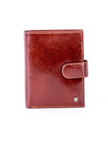 Brązowy skórzany portfel na zatrzask