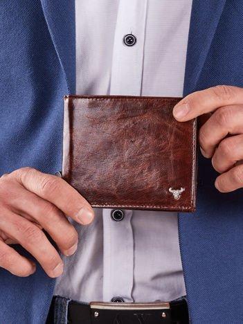 Brązowy skórzany portfel poziomy