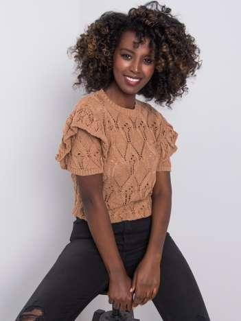 Brązowy sweter ażurowy Nicoletta RUE PARIS