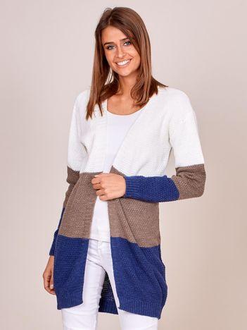 Brązowy sweter tricolor bez zapięcia