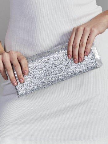Brokatowa kopertówka z lusterkiem srebrna