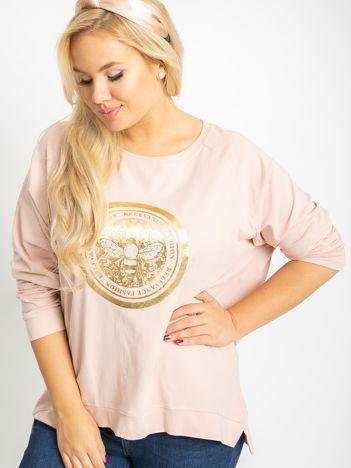 Brudnoróżowa bluzka plus size Logo