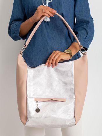Brudnoróżowa damska torba z ekoskóry