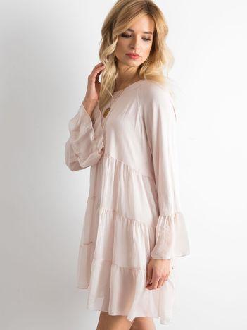 Brudnoróżowa luźna sukienka