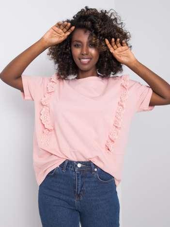 Brudnoróżowy t-shirt z falbanami Mylene