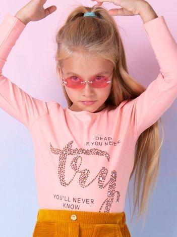 Brzoskwiniowa bluzka dziewczęca z nadrukiem
