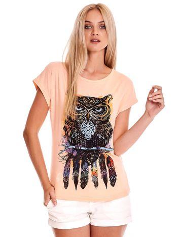 Brzoskwiniowy t-shirt z sową