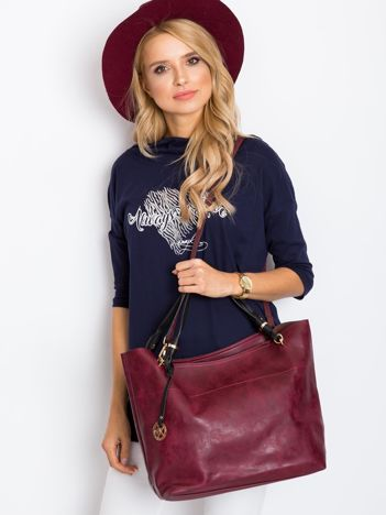 Burgundowa torba shopper