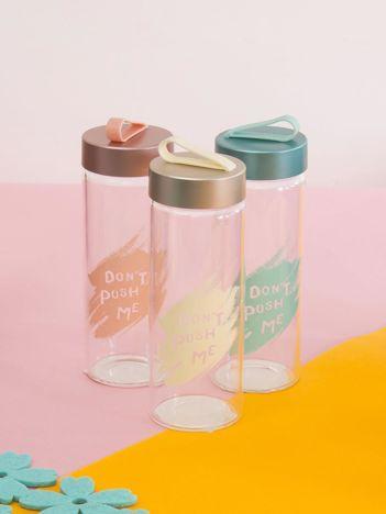 Butelka szklana z uchwytem beżowa