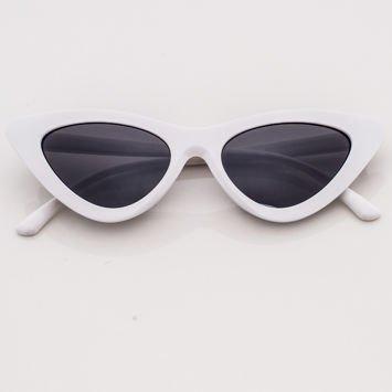 CAT EYE Białe damskie okulary słoneczne KOCIE OCZY
