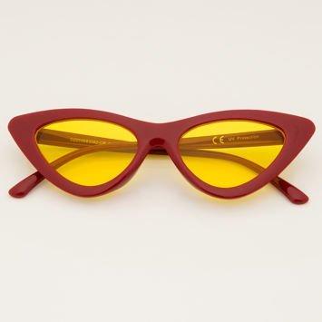 CAT EYE Czerwone damskie okulary przeciwsłoneczne KOCIE OCZY