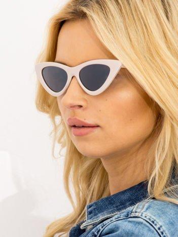 CAT EYE Pudrowe damskie okulary słoneczne KOCIE OCZY