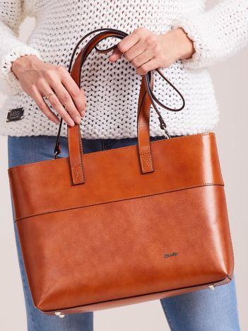 Camelowa skórzana torba shopper bag