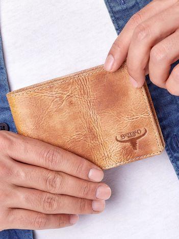 Camelowy portfel męski ze skóry naturalnej
