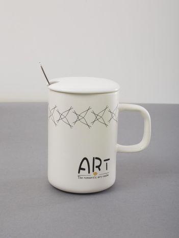 Ceramiczny biały kubek z pokrywką
