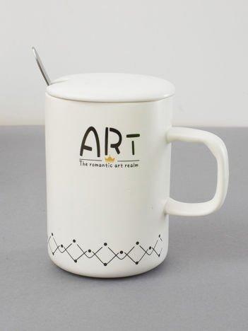 Ceramiczny kubek z pokrywką biały