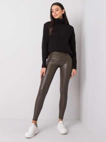Ciemne khaki legginsy ze skóry ekologicznej Briana RUE PARIS