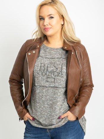 Ciemnobeżowa bluzka plus size Bertha