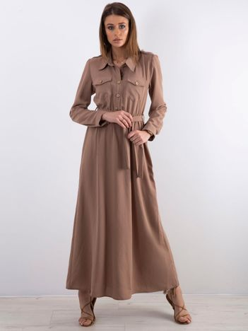 Ciemnobeżowa długa sukienka z kieszonkami