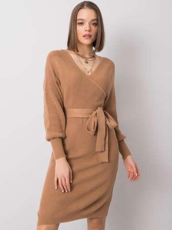 Ciemnobeżowa sukienka Ernestina RUE PARIS