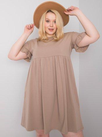 Ciemnobeżowa sukienka plus size Chiara