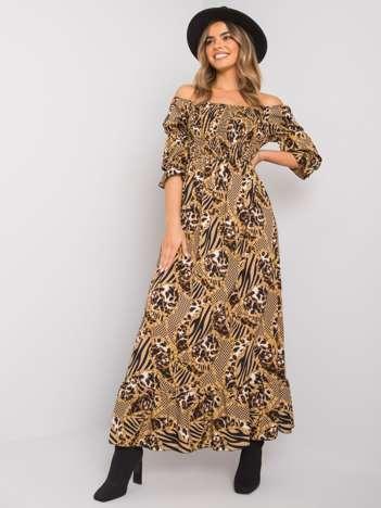 Ciemnobeżowa sukienka z printami Javina