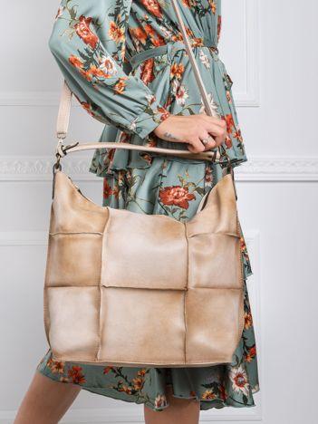 Ciemnobeżowa torba patchwork