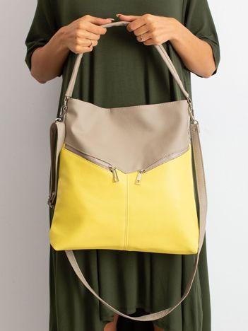 Ciemnobeżowa torba z żółtą wstawką
