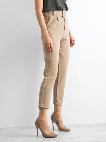 Ciemnobeżowe spodnie high waist