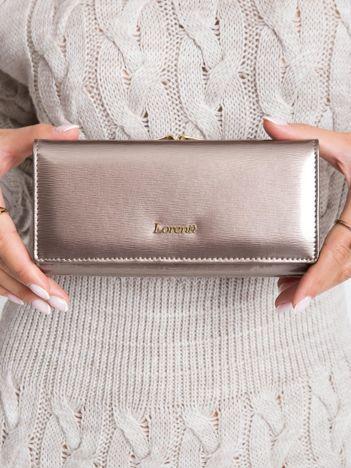 Ciemnobeżowy podłużny portfel skórzany