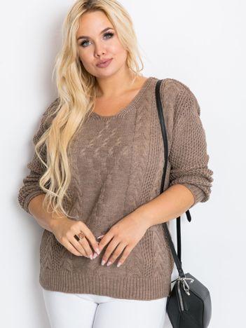 Ciemnobeżowy sweter plus size Flower