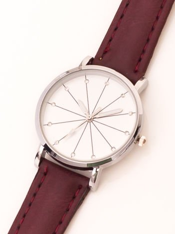 Ciemnobordowy zegarek damski z cyrkoniami na tarczy