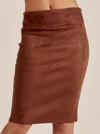 Ciemnobrązowa spódnica z imitacji zamszu